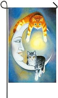 Jagfhhs Sun Moon Goddess Stars Orange Grey Cats Watching You Garden Flag House Flag Decoration Double Sided Flag