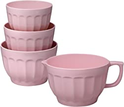 Gourmet Art 4-Piece Latte Melamine Mixing Bowl, Pink