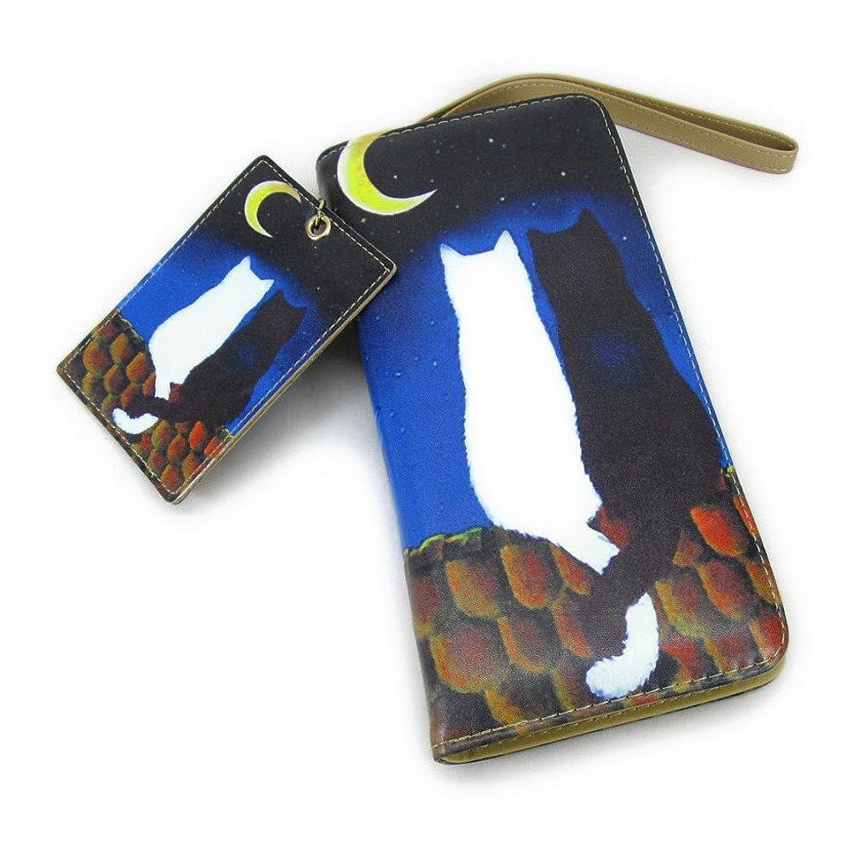 女優イソギンチャク盗賊【Black Butterfly】 おしゃれ 月夜に 寄り添う 2匹の 猫 イラスト 長財布 お揃い カードケース付き [並行輸入品]