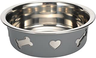 Pampering Dual-Purpose Stainless Steel Bowl Dish PM1202003(2017 for Cat Dog Animal Pet Feeding Dinner Watering,Include Stainless Steel Bowl and Non Slip Silicone Case,Easy Clean.