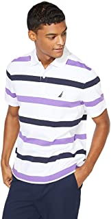 Nautica Men's Short Sleeve Striped Interlock Polo