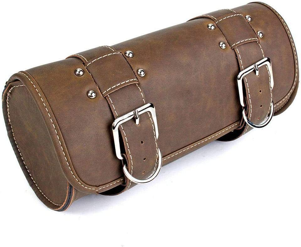 PU Leather Tool Pouch Roll Handlebar Bags Wilove Vintage Motorcycle Saddle Bags Brown