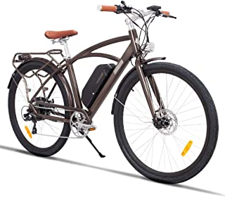 """28"""" Electric City Bike Aluminum 7 Speed E-Bike, 48V Lithium Battery 750W Electric Bicycle for Adults (Coffee)"""