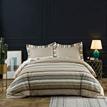 BISELINA 100% Cotton 300 Thread Count Duvet Cover Set 3PCS Khaki Brown Blue Striped Modern Durable (Queen, Khaki)