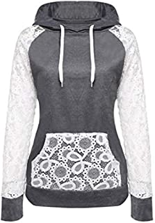 Leyben Women's Tops, Womens Loose Causal Lace Patchwork Hooded Sweatshirt Pullover Hoodie Coat Outerwear Tops