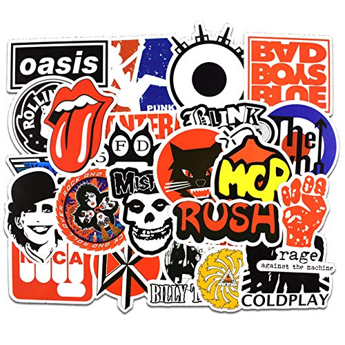 50 Pcs Rock Music Vinyl Waterproof Stickers, for Laptop, Luggage, Car, Skateboard, Motorcycle, Bicycle Decal Graffiti Patches