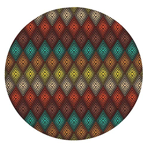 Elastic Edged Polyester Fitted Table Cover,Tribal Primitive Abstract Folk Dots Forming Diamond Forms Ethnic Artsy Pattern Tablecloth,Fits Round Tables 36-40',for Dining Room Kitchen Party Multicolor