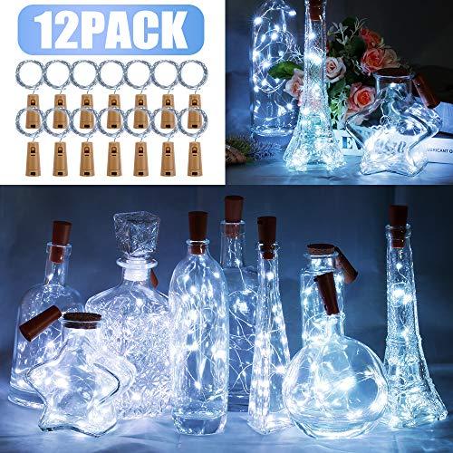 Preisvergleich Produktbild 12 Stück LED Flaschenlicht,  BIG HOUSE 20 LEDs 2M Lichterkette Kupferdraht batteriebetriebene Weinflasche Lichter mit Kork Schnurlicht für DIY Deko Weihnachten Party Urlaub Stimmungslichter(KalteWeiß)