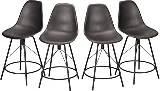 Haobo Metal Bar Stools, Counter Height Stools Plastic Seat Swivel Chairs Set of 4 for Indoor, Outdoor, Home, Kitchen Dinning Chairs, Bar Counter, Business (24
