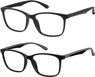 Blue Light Glasses for Women Men, TR Lightweight Computer Glasses, Anti Blue Blocking Vintage Non-Prescription Eyeglasses Frame with Clear Lens 2 Pack (Matte Black+Matte Black with Grey Temple)