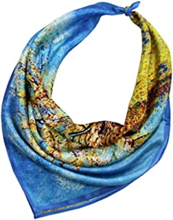 WYMAI Silk Small Square, Digital Inkjet Silk Scarf, Chinese Silk Scarves, Silk Gifts, Simple and Practical Product (Color : Blue, Size : 20.5 * 20.5in)