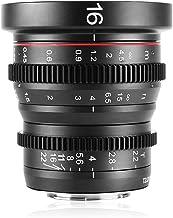 Venidice Meike 16 mm T2.2 Enfoque Manual Aspherical Portrait Cine lente para Micro Cuatro Tercios (MFT, M4/3) Monte Olympus Panasonic Lumix + Venidice Colth