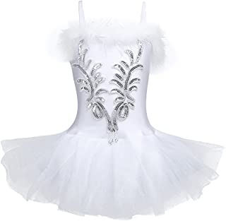 Kid's Girls Sequins Beads Flower Fairy Ballerina Dance Costume Ballet Tutu Dress with Long Gloves and Hair Clip Set