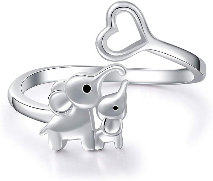 BEILIN Mother Daughter Jewelry - 925 Sterling Silver Lucky Elephant Love Heart Pendant Necklace Anklet Bracelet Ring Earrings for Women Teen Girls