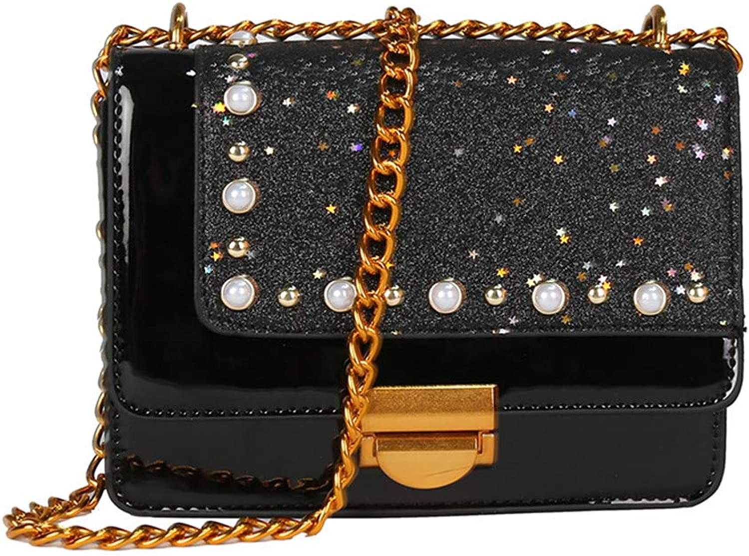 Sturdy Casual Chain Patent Leather Sequins Small Square Handbag Bright Leather Pearl Shoulder Handbag Large Capacity (color   Black)