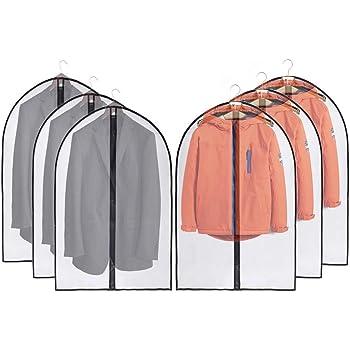UOUEHRA Bolsas para Ropa a Prueba De Polillas 6 Paquetes 60x100cm Blanco Traje Transpirable Cubiertas contra El Polvo con Cremallera y Bolas De Cedro para Guardar La Ropa