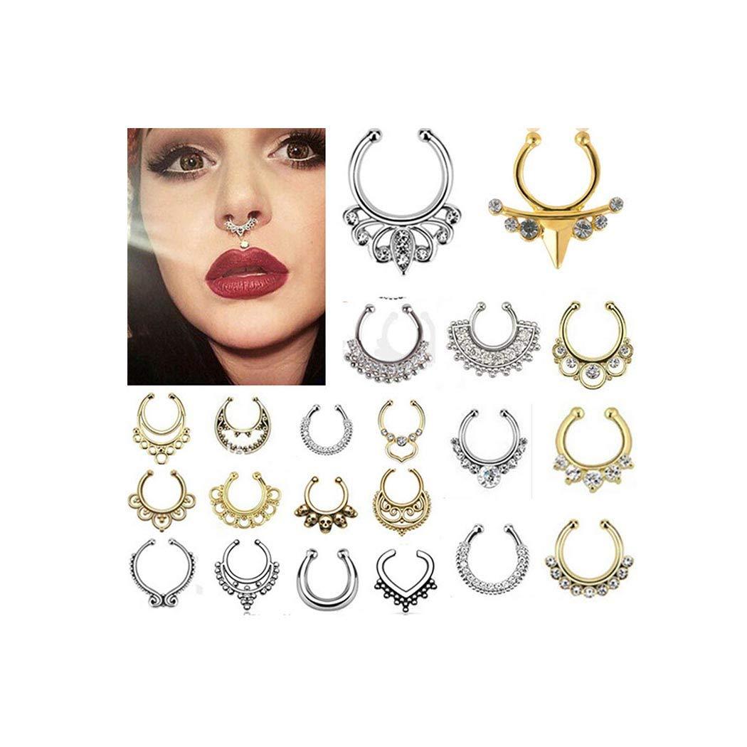 Zoestar 4 Pcs Nose Rings Fake Hoop Nose Ring Nose Piercing Jewelry for Women