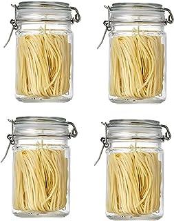 Annfly Lot de 4 bocaux en verre avec couvercles hermétiques pour la cuisine - 750 ml