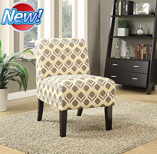 WYOHLLVO Latest Version & Stronger Armless Accent Chair, Patterned Accent Chair, Modern Slipper Chair, Vanity Chair with Thicken Cone Wood Legs for Dining Living Room Sofa Side Chair (Gray & Yellow)