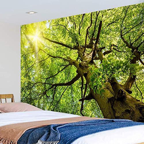 KHKJ Sol a través del árbol Grande Tapiz Bosque Naturaleza Paisaje Pared Manta Mandala Alfombra Dormitorio Boho decoración del hogar A5 200x150cm