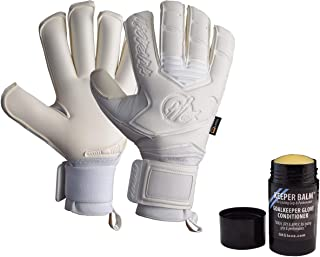 Huracan GK Diablo Branco, All White, Pro Quality Goalkeeper Gloves (Sizes 4-11) w/Removable 'Zero Tolerance' Fingersaves, 4mm German Latex - Exceptional Value, 30 Day Guarantee