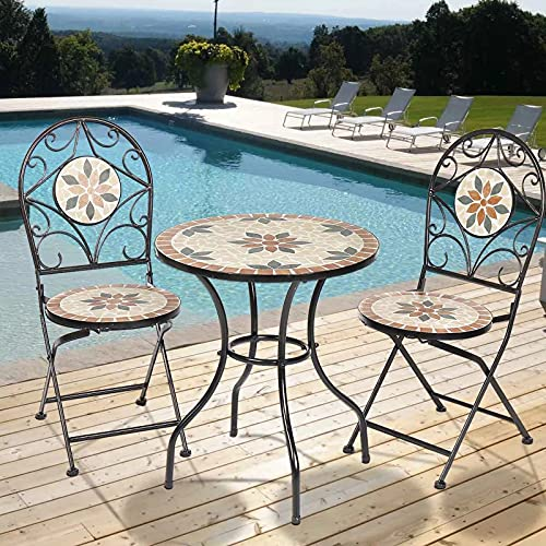 dongyu 3Pcs/Set Garden Furniture Dining Set Iron Floral Pattern Design Bistro Patio Set Round Table And 2XFoldable Chairs