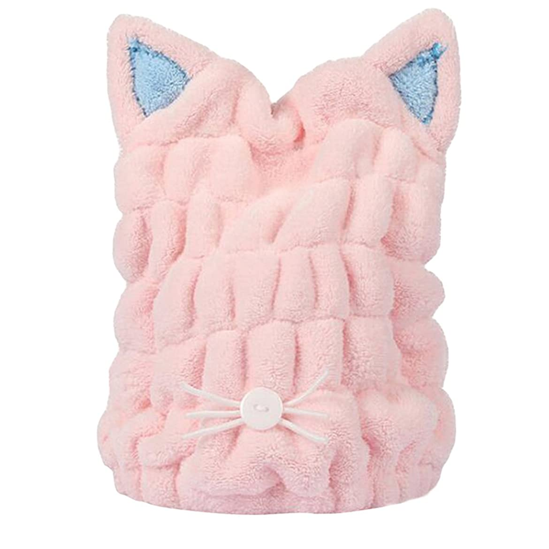 ブランド食器棚心理的にタオルキャップ 猫耳 ヘアドライキャップ 吸水 乾燥用 お風呂用 マイクロファイバー 可愛い (ピンク)