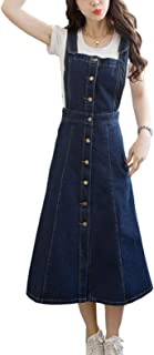 Women's Perfectly A-Line Adjustable Strap Denim Jean Overall Skirt Long Dress