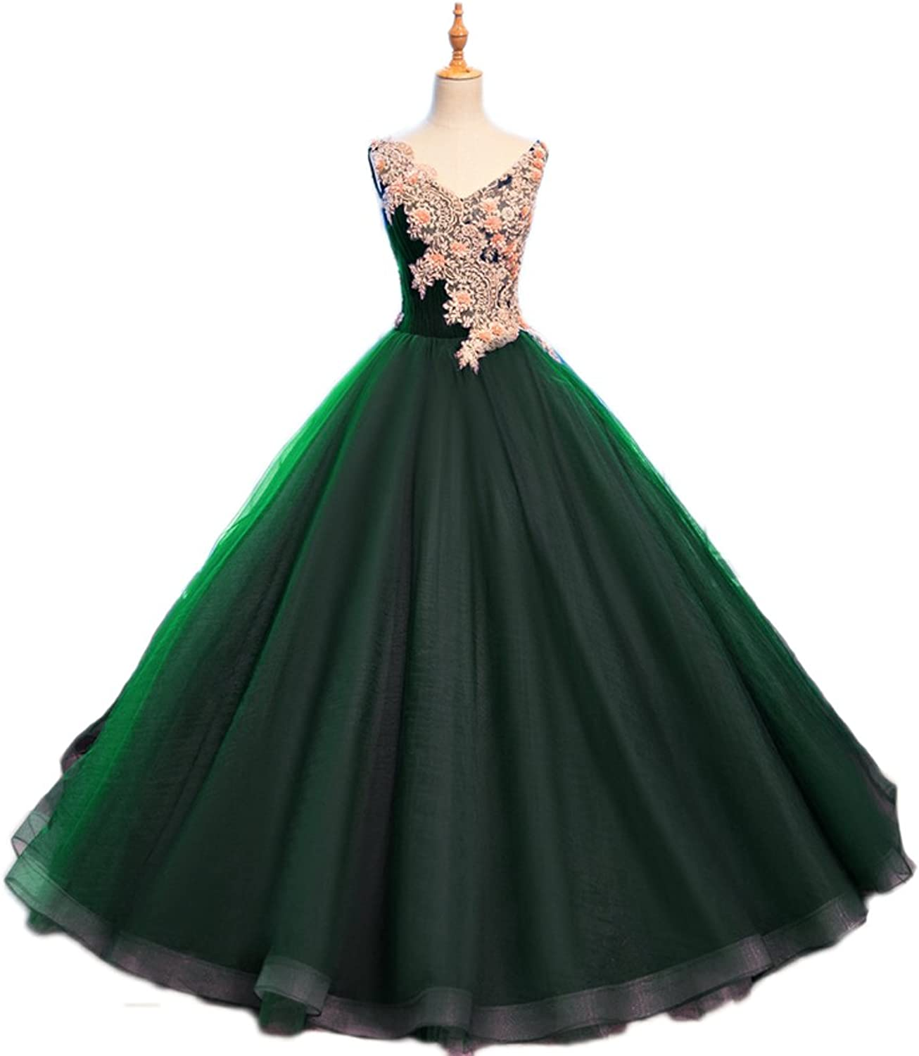 Beilite Women's Appliques Beaded Quinceanera Dress Puffy Organza Prom Ball Gown