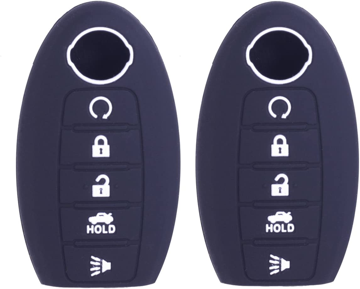 2Pcs WERFDSR Sillicone key fob Skin key Cover Keyless Entry Remote Case Protector Shell for 2013-2015 Nissan Altima Sedan Nissan Pathfinder light blue