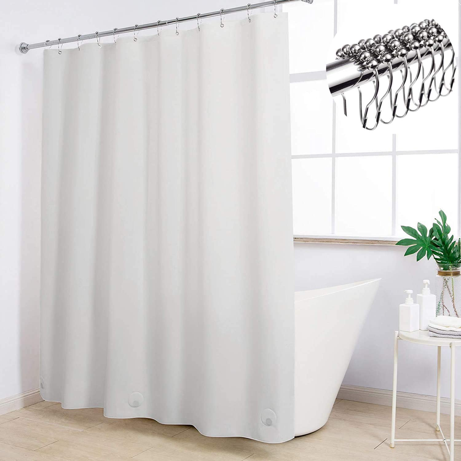 Ryhpez White Shower Topics on TV Curtain Liner Hooks - Metal Waterproof SEAL limited product with
