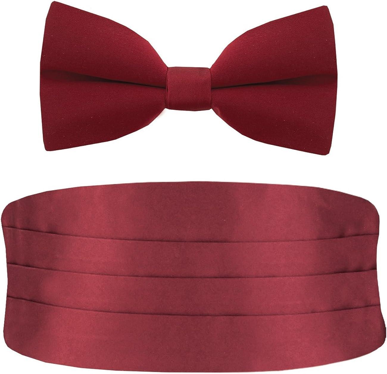 Dobell Mens Burgundy Cummerbund & Bow Tie Set Pre-Tied Tuxedo Evening Wear Accessories