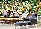 XHXI Papel pintado de la pintura al óleo del bosque verde de la acuarela Papel pintado no tejido Mural del efecto 3D papel Pintado de pared tapiz Decoración dormitorio Fotomural-350cm×256cm