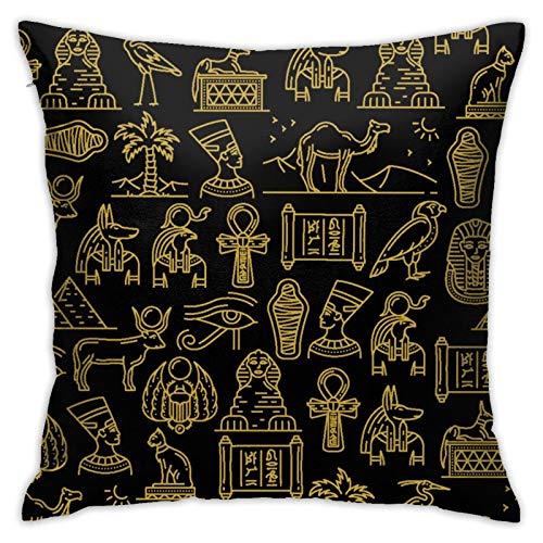 Moyhza Capa de almofada, egípcios, antigos deuses do Egito decorativos, quadrados, fronhas macias para homens/mulheres, 45 cm x 45 cm