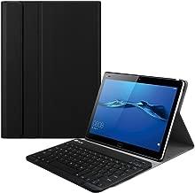 KILISON Huawei MediaPad T5 10 Teclado Estuche Funda [QWERTY Formato], Slim PU Cuero Stand Detachable Wireless Teclado Funda Case Cover para Huawei MediaPad T5 10 10.1 Inch, Negro