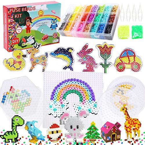 YFZYT Fuse Beads Kit 26 Colors 7200pcs 5mm Iron Beads Kids Craft Set with 10...