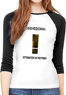 b6c74ffc6fd93 ETGBFHRDH T-Shirt à Manches Longues pour Femme, Shinedown Attention à col  Rond T