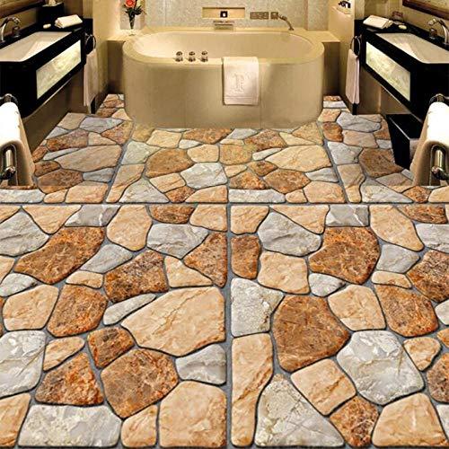 Aangepaste muurschildering behang 3D stereo hoofdsteen pleister 3D vloerschildering sticker badkamer keuken vloertegels PVC waterdicht behang 350 x 245 cm.
