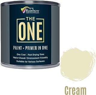 One paint, couche de peinture multi-surfaces One pour bois, métal, plastique, intérieur et extérieur - couleur crème, finition satinée, 250 ml