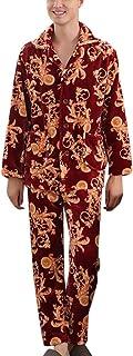 Men's Pajama Set Winter Vintage Fashion with Print Coral Classic Fleece Homewear Pajamas Long Sleeve Warm Thicken Comforta...