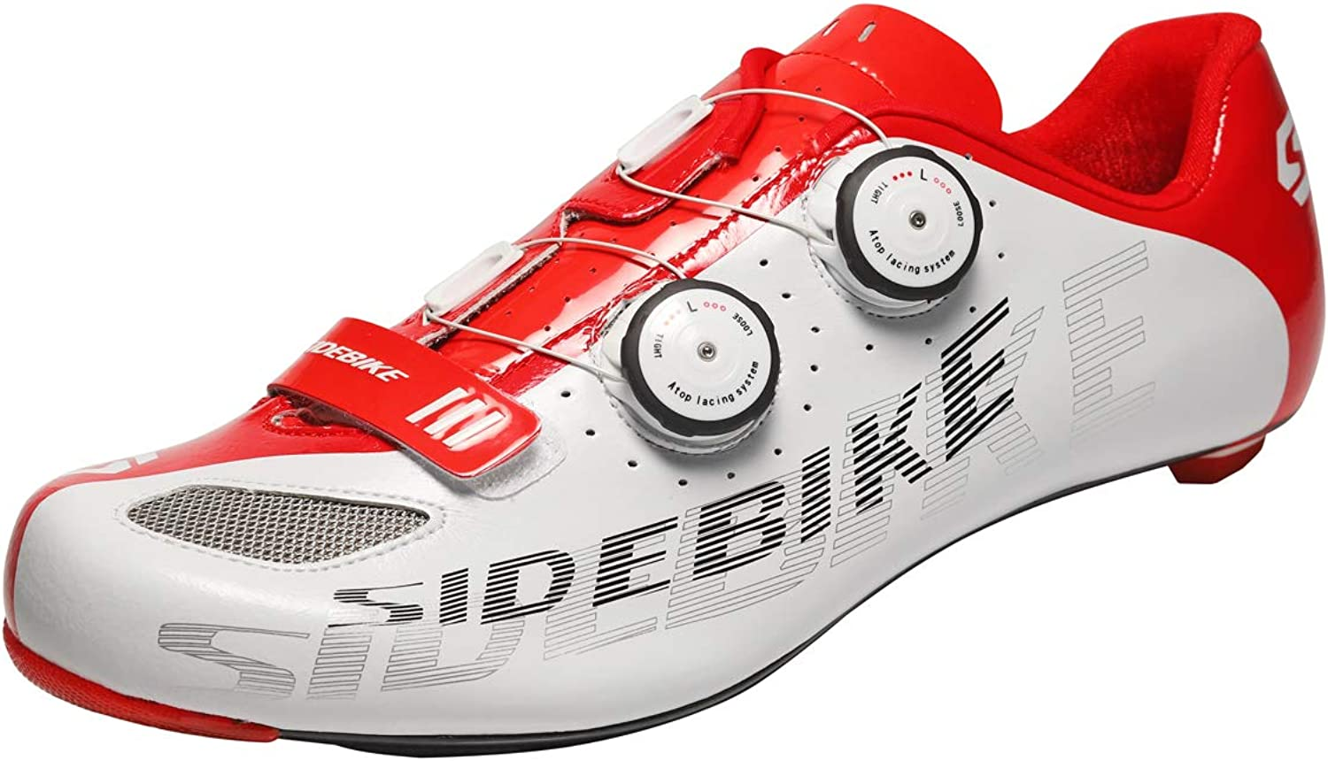 SIDEBIKE Carbon Fiber Cycling shoes for Road Reel Knob Speed Lacing System Breathable 002W