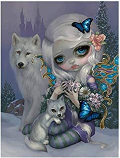 5D Diamond Painting Kits for Adults, Kids. Home Decoration, Room, Office, Gift for Him Her Wolf and Cartoon Girl 11.8x11.8in 1 Pack by SingyaBRA
