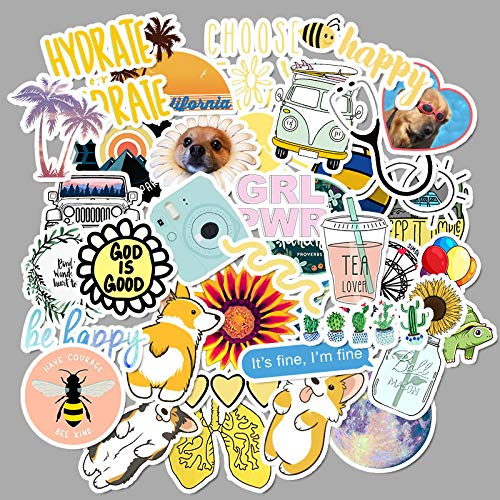 Small Fresh Stickers Suitcase Water Cup Refrigerator Stickers 50Pcs