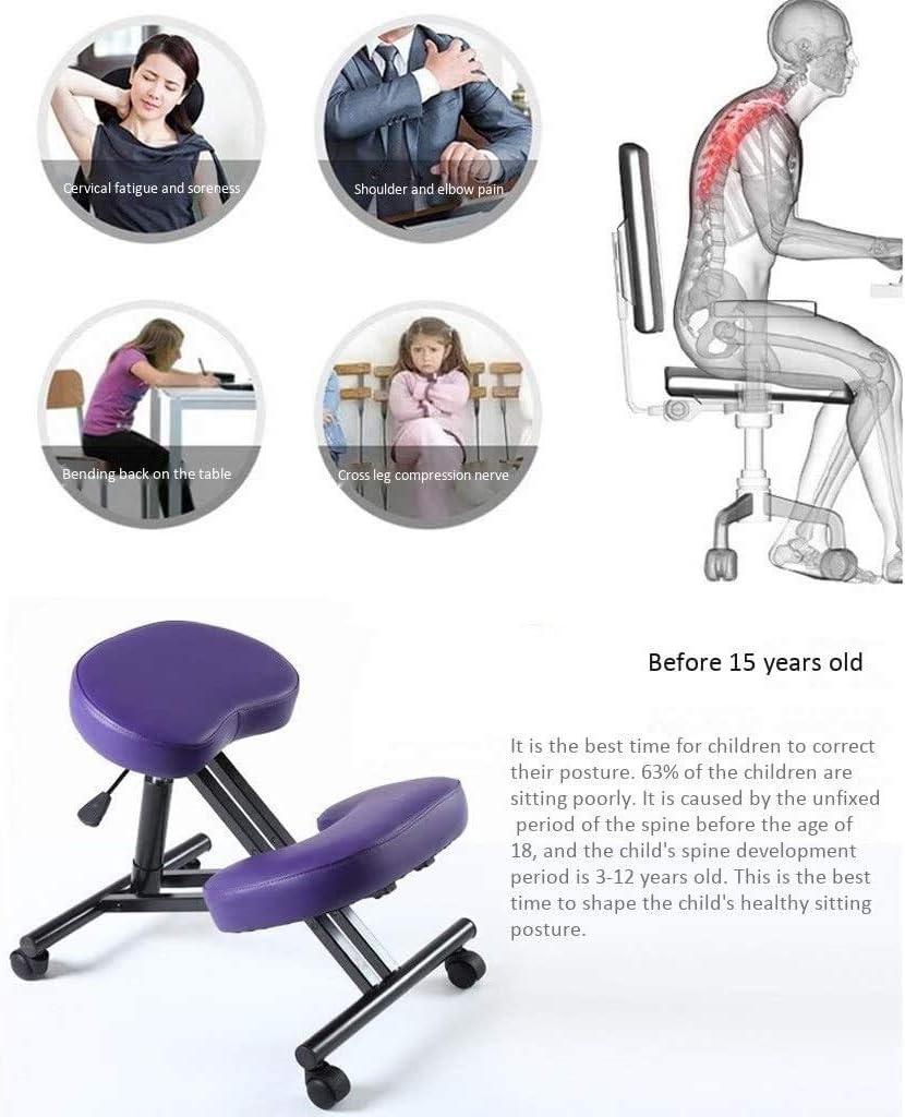 HUXIUPING Genoux Chaise Ergonomique Tabouret Mobilier Chaise d'ordinateur Posture Correction Chaise Anti-myopie à Hauteur réglable (Color : Black) Purple