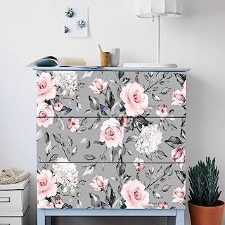 Alwayspon Rose Flower Adhesivos para el aparador IKEA Malm pegatinas delanteras de cajón extraíbles Peel and Stick Muebl...