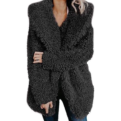07e31b4729bf0 Lazzboy Womens Jacket Coat Long Sleeve Faux Fur Fluffy Fleece Notch Collar  Warm-up Outerwear