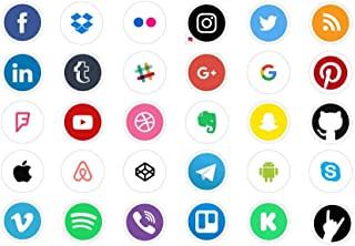Social Media Icons/App icon Stickers Social Media Logo Vinyl Decal Sticker 30pcs for Laptops, MacBook, iPhone, Ipad, Car, Bike or Any Flat Surface by A-B Traders