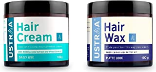 Ustraa Daily Use Hair Cream, 100g and  Ustraa Hair Wax for styling, 100g