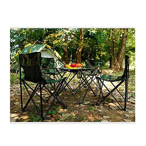 Tisch- und Stuhlset im Freien Tragbarer Barbecue Campingstuhl, tragbarer Tisch und Stuhl mit selbstfahrender Picknicktisch und Stuhl, Klapptisch und Stuhl-Set