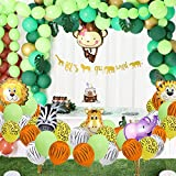148 Pack Jungle Safari Theme Party Decorations Set:148 latex balloons, 12 Green Palm Leaves, 1 banner 4 cake topper 16 feets Arch Balloon strip tape, 1 Balloon tying tools Safri party Supplies Favors for Kids Boys Birthday Baby Shower Decor